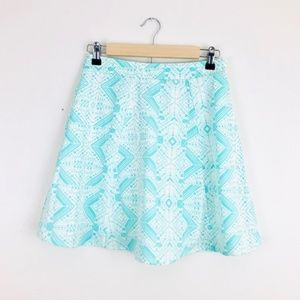 Annabella Mint Green & White Aztec Skater Skirt